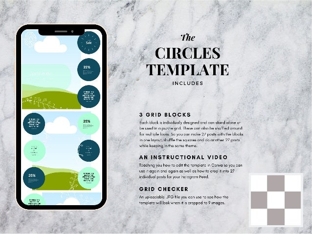 Circles instagram puzzle template