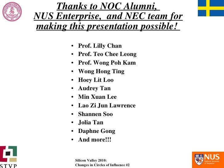 Thanks to NOC Alumni,  NUS Enterprise,  and NEC team for making this presentation possible!  <ul><li>Prof. Lilly Chan </li...