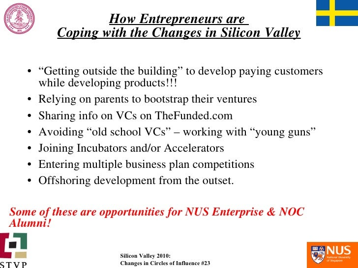 """How Entrepreneurs are  Coping with the Changes in Silicon Valley <ul><li>"""" Getting outside the building"""" to develop paying..."""