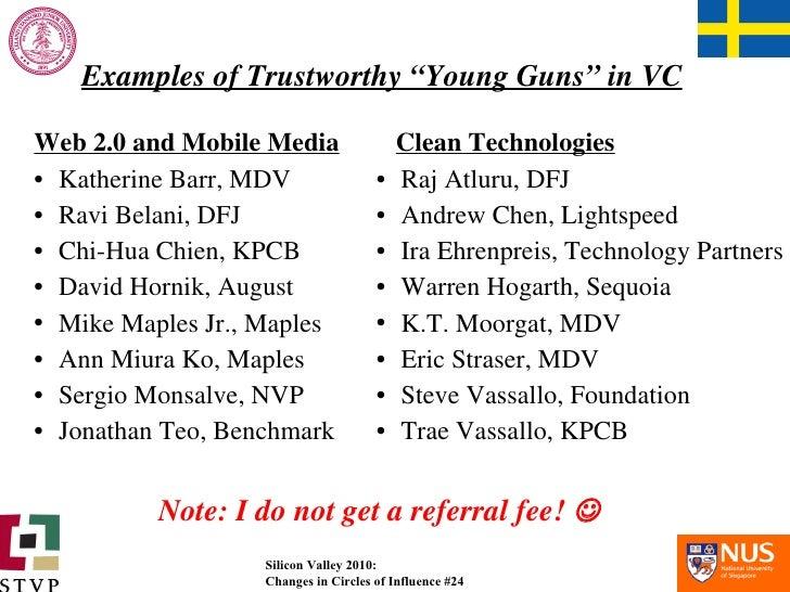 """Examples of Trustworthy """"Young Guns"""" in VC <ul><li>Web 2.0 and Mobile Media </li></ul><ul><li>Katherine Barr, MDV </li></u..."""