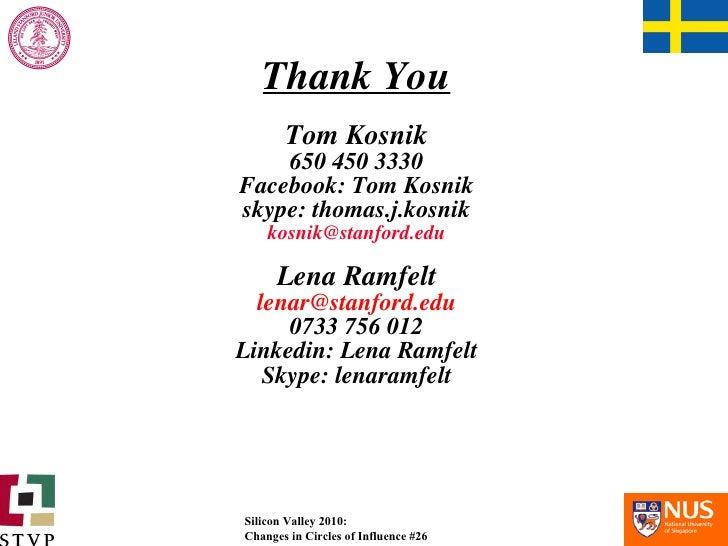 Thank You Tom Kosnik 650 450 3330 Facebook: Tom Kosnik skype: thomas.j.kosnik [email_address] Lena Ramfelt [email_address]...