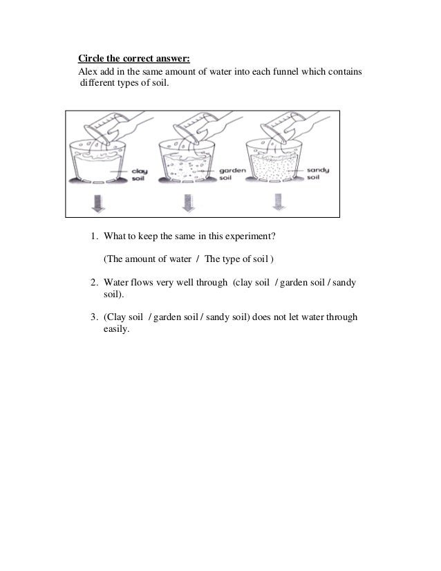 Circle the correct answer:Alex add in the same amount of water into each funnel which containsdifferent types of soil.   1...