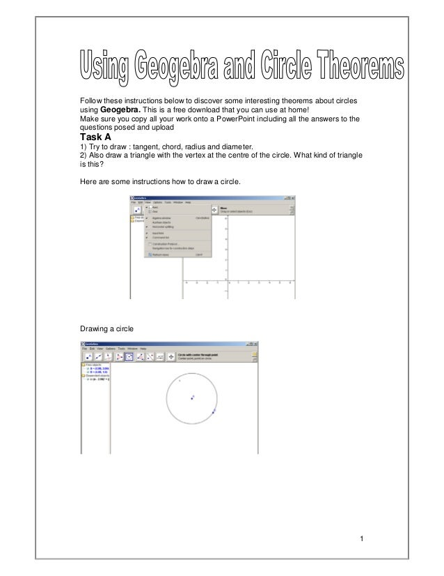 Circle Theorems And Geogebra