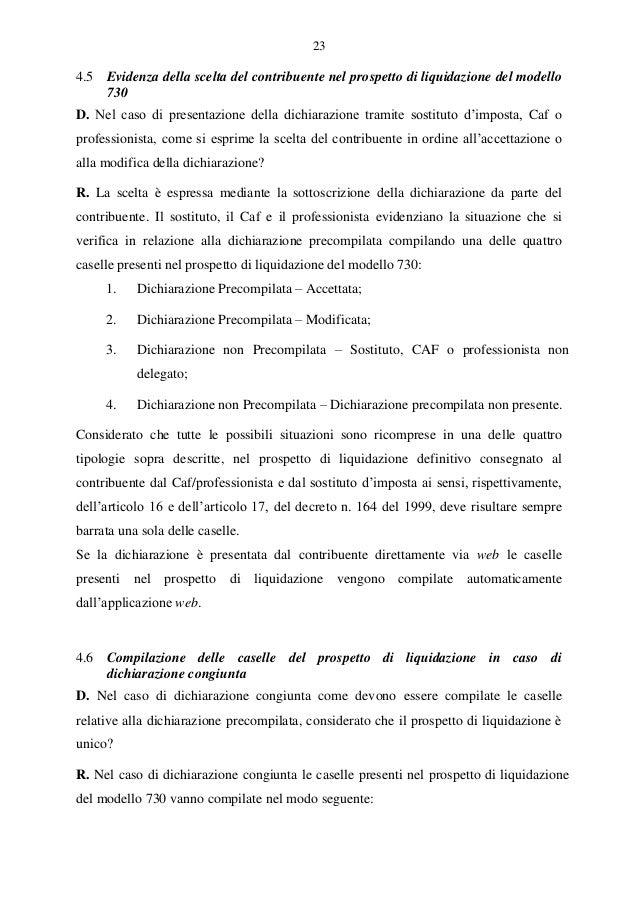 730 precompilato le risposte ai questiti for Dichiarazione 730 precompilata