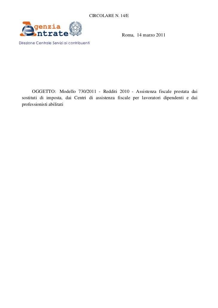 CIRCOLARE N. 14/E                                                       Roma, 14 marzo 2011Direzione Centrale Servizi ai c...