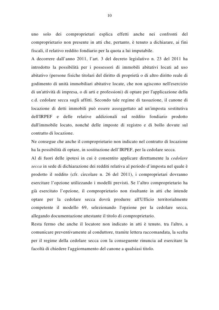 Circolare cedolare secca 2012 for Contratto a cedolare secca