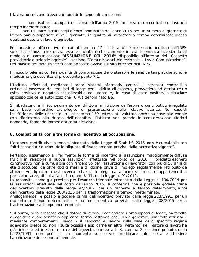Circolare inps 2016 esonero contributivo for Inps servizi per aziende e consulenti
