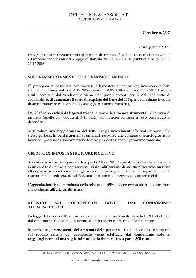 DEL FIUME & ASSOCIATI DOTTORI COMMERCIALISTI 00183 Roma – Via Appia Nuova, 197 – TEL. 06.97610486 – FAX 06.97656179 e-mail...