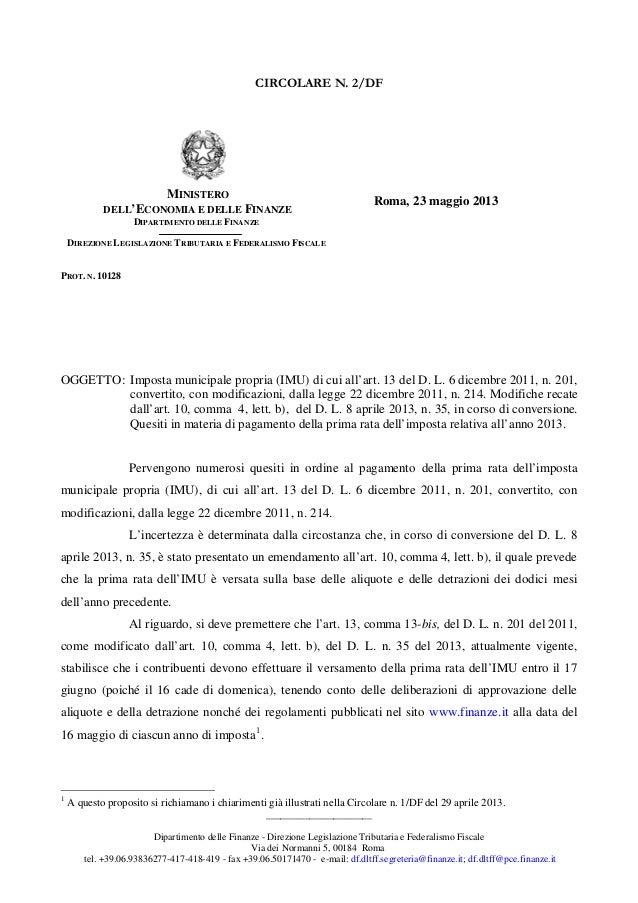 ______________________Dipartimento delle Finanze - Direzione Legislazione Tributaria e Federalismo FiscaleVia dei Normanni...