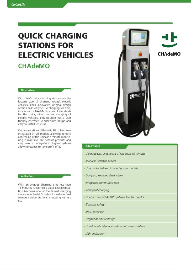 CirCarLife        QUICK CHARGING        STATIONS fOR        ELECTRIC VEHICLES        Chademo           Description        ...