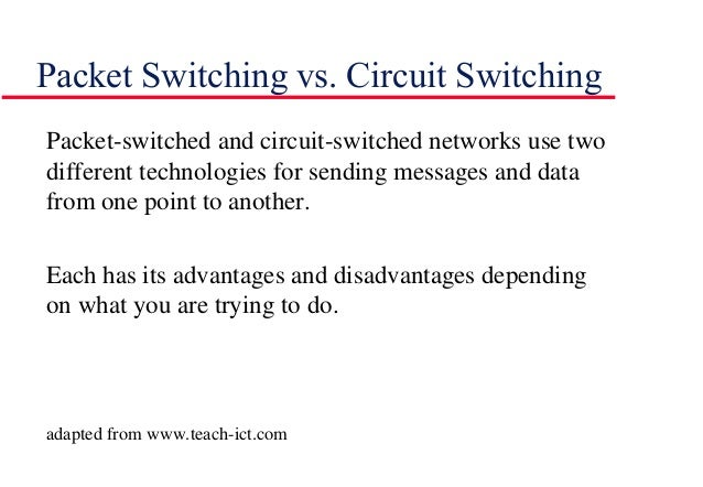 Packet Switching vs. Circuit Switching Packet-switched and circuit-switched networks use two different technologies for se...