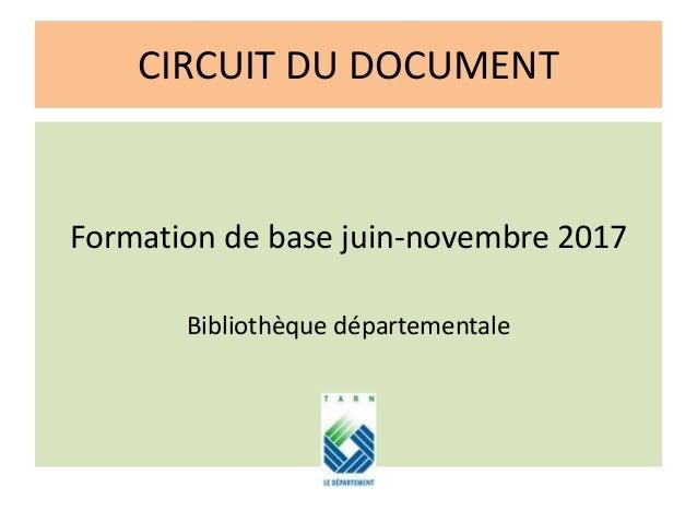 CIRCUIT DU DOCUMENT Formation de base juin-novembre 2017 Bibliothèque départementale