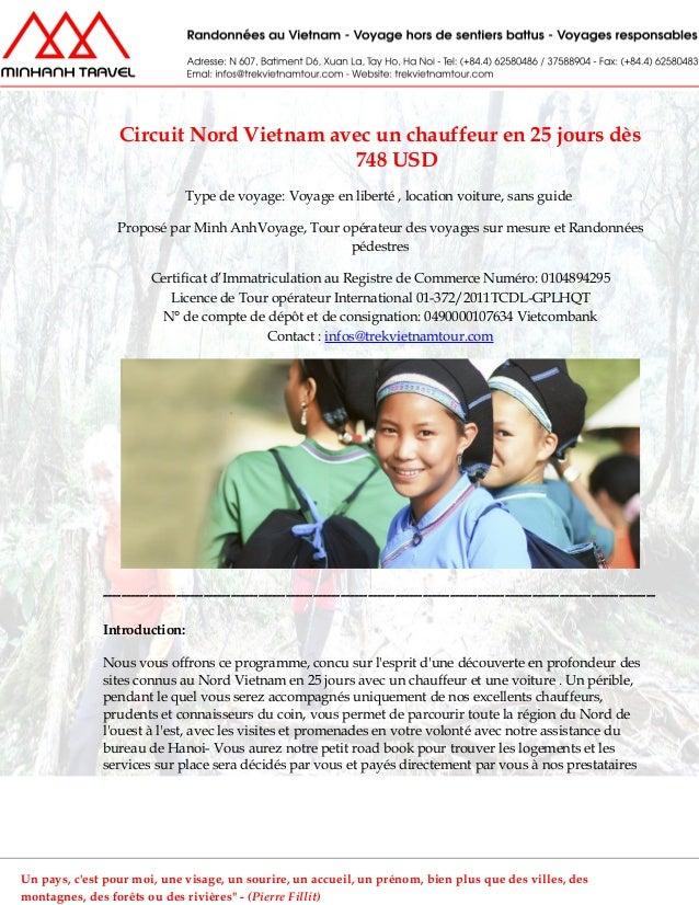 Circuit Nord Vietnam avec un chauffeur en 25 jours dès748 USDType de voyage: Voyage en liberté , location voiture, sans gu...