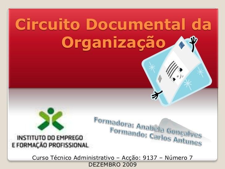 Circuito Documental da Organização<br />Formadora: Anabela Gonçalves<br />Formando: Carlos Antunes<br />Curso Técnico Admi...