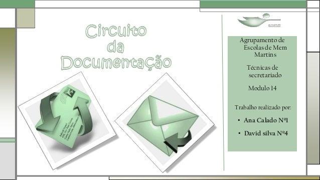 Agrupamento de Escolas de Mem Martins Técnicas de secretariado Modulo 14 Trabalho realizado por: • Ana Calado Nº1 • David ...
