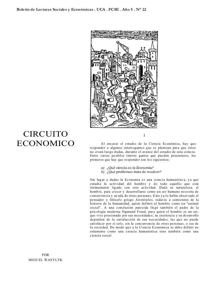 Boletín de Lecturas Sociales y Económicas . UCA . FCSE . Año 5 . N° 22 CIRCUITO                                           ...