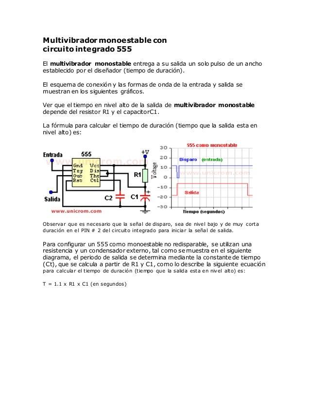 Multivibrador monoestable con circuito integrado 555 El multivibrador monostable entrega a su salida un solo pulso de un a...