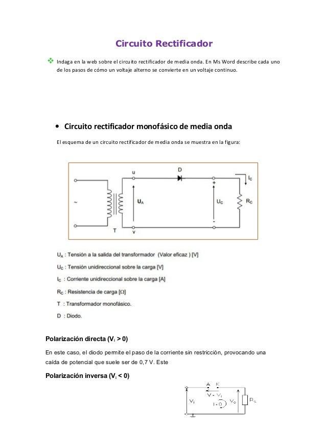 Circuito Rectificador De Media Onda : Circuito rectificador