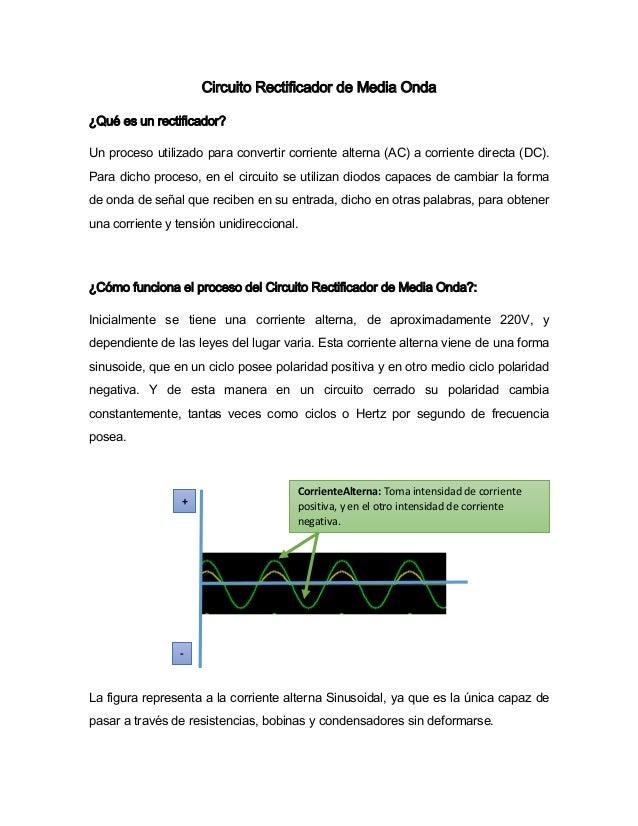 Circuito Rectificador De Media Onda : Circuito rectificador de media onda