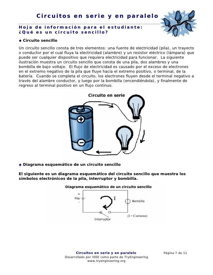 Circuitos en serie y en paralelo Hoja de información para el estudiante: ¿Qué es un circuito sencillo?   Circuito sencillo...