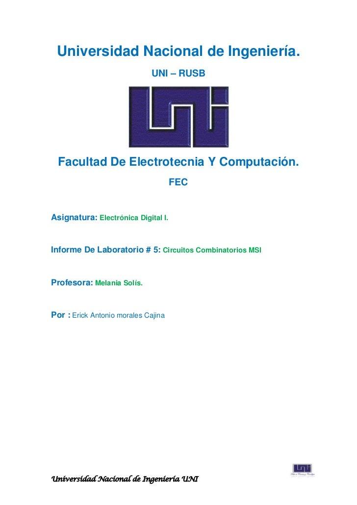 Universidad Nacional de Ingeniería.                              UNI – RUSB  Facultad De Electrotecnia Y Computación.     ...