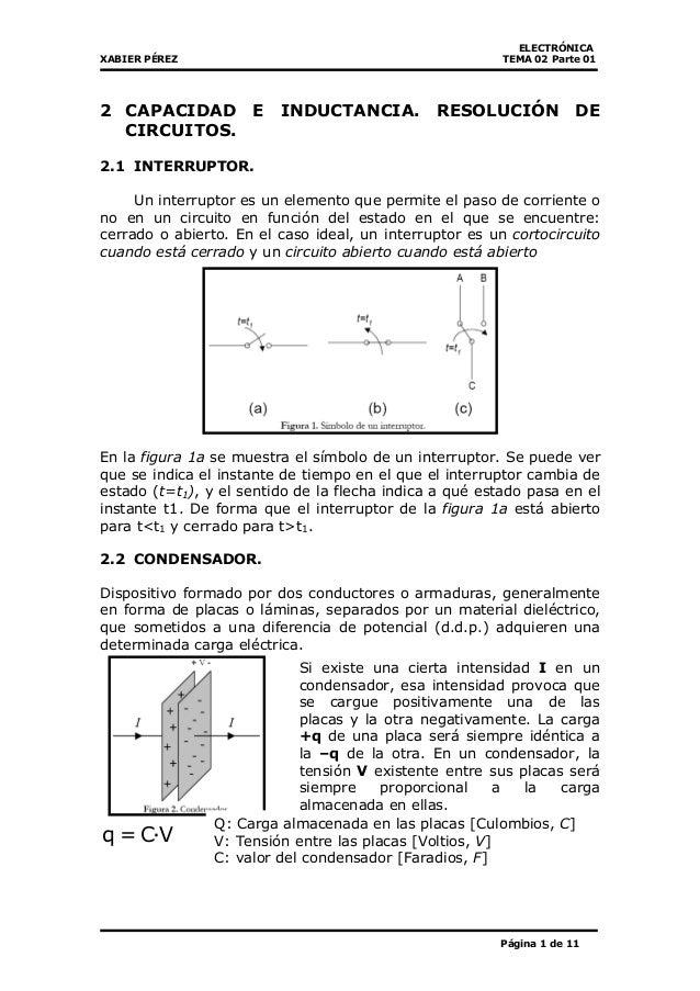 ELECTRÓNICA XABIER PÉREZ TEMA 02 Parte 01 Página 1 de 11 2 CAPACIDAD E INDUCTANCIA. RESOLUCIÓN DE CIRCUITOS. 2.1 INTERRUPT...