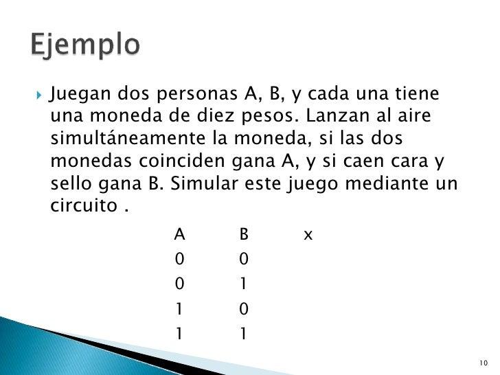    Juegan dos personas A, B, y cada una tiene    una moneda de diez pesos. Lanzan al aire    simultáneamente la moneda, s...