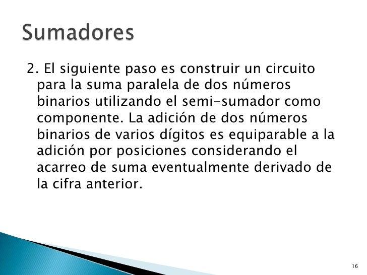 2. El siguiente paso es construir un circuito para la suma paralela de dos números binarios utilizando el semi-sumador com...