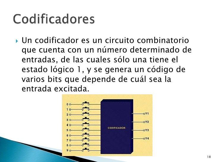    Un codificador es un circuito combinatorio    que cuenta con un número determinado de    entradas, de las cuales sólo ...