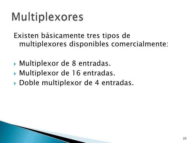 Existen básicamente tres tipos de multiplexores disponibles comercialmente:   Multiplexor de 8 entradas.   Multiplexor d...