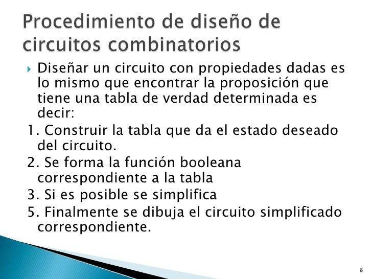Diseñar un circuito con propiedades dadas es lo mismo que encontrar la proposición que tiene una tabla de verdad determin...
