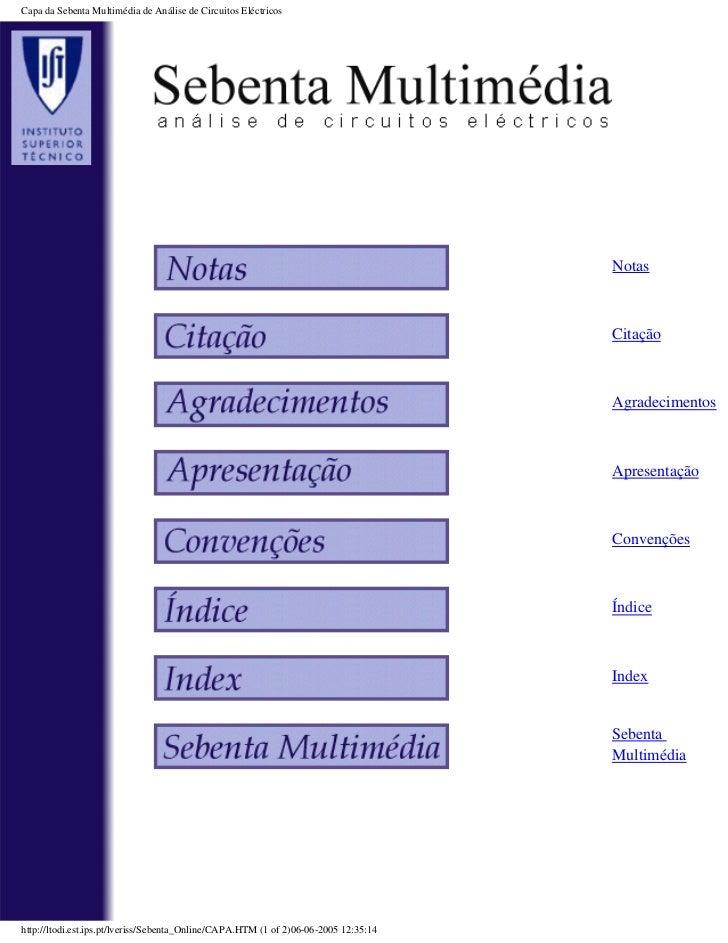 Capa da Sebenta Multimédia de Análise de Circuitos Eléctricos                                                             ...
