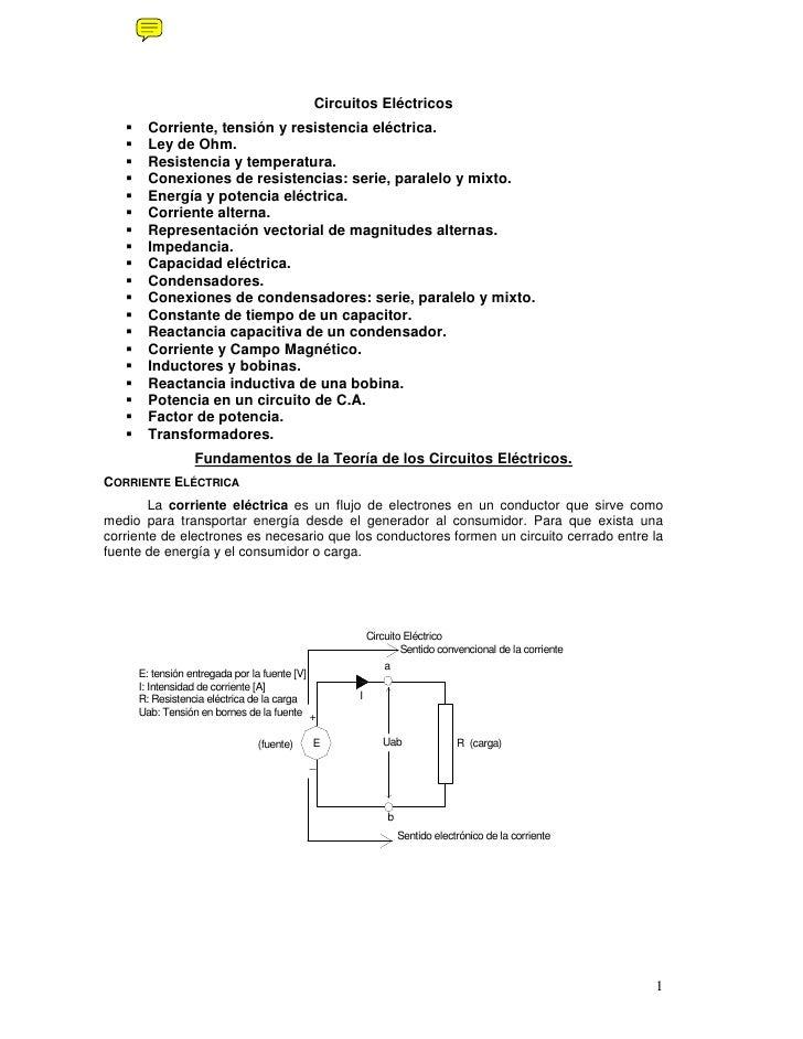 Circuitos Eléctricos        Corriente, tensión y resistencia eléctrica.        Ley de Ohm.        Resistencia y temperatur...