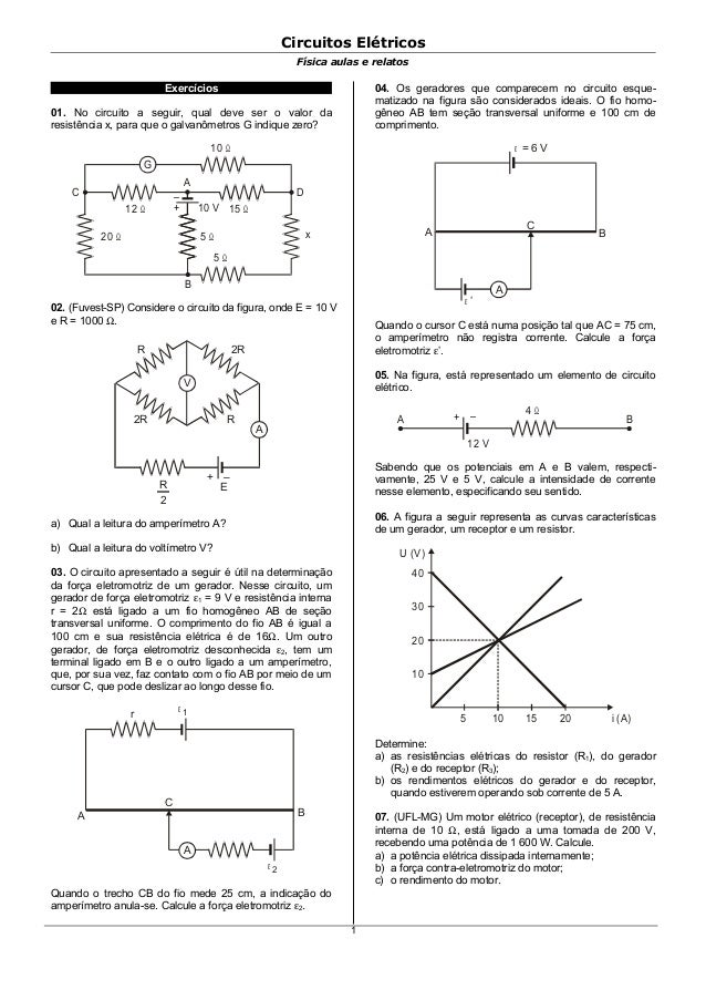 Circuitos ElétricosFísica aulas e relatosExercícios01. No circuito a seguir, qual deve ser o valor daresistência x, para q...