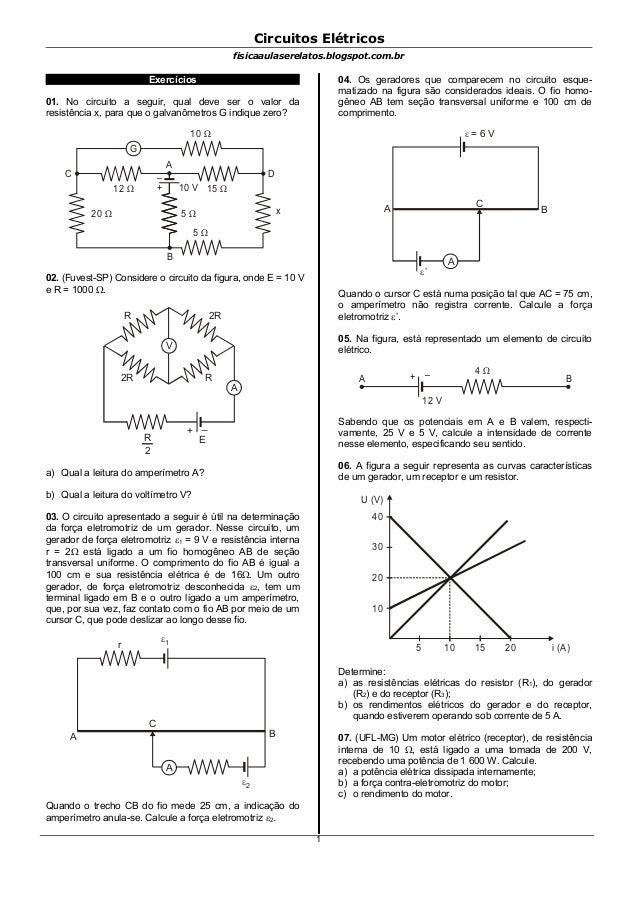 Circuitos Elétricosfisicaaulaserelatos.blogspot.com.brExercícios01. No circuito a seguir, qual deve ser o valor daresistên...