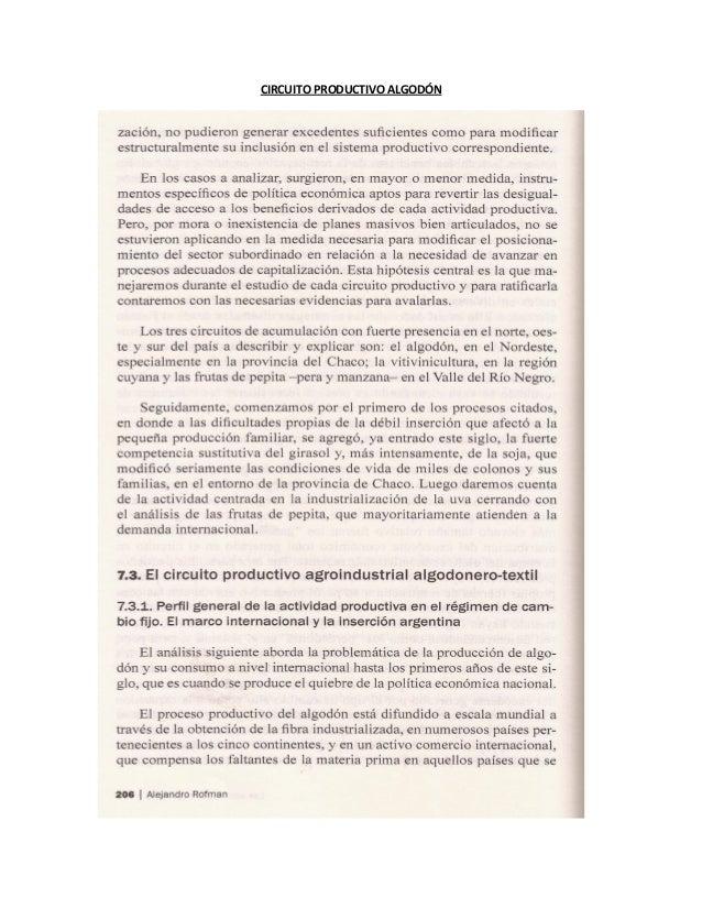 CIRCUITO PRODUCTIVO ALGODÓN