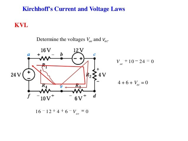 KVL Determine the voltages Vae and Vec. Kirchhoff's Current and Voltage Laws 10 24 0ae V 16 12 4 6 0ae V 4 + 6 + Vec = 0