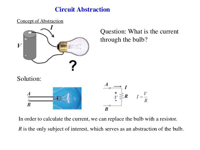 Circuit Abstraction Question: What is the current through the bulb? Concept of Abstraction Solution: In order to calculate...