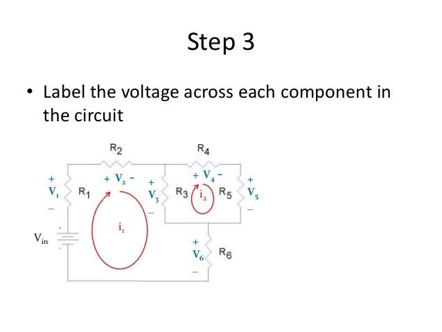 Step 3 • Label the voltage across each component in the circuit i1 i2 + V1 _ Vin + V3 _ + V5 _ + V6 _ + V2 - + V4 -