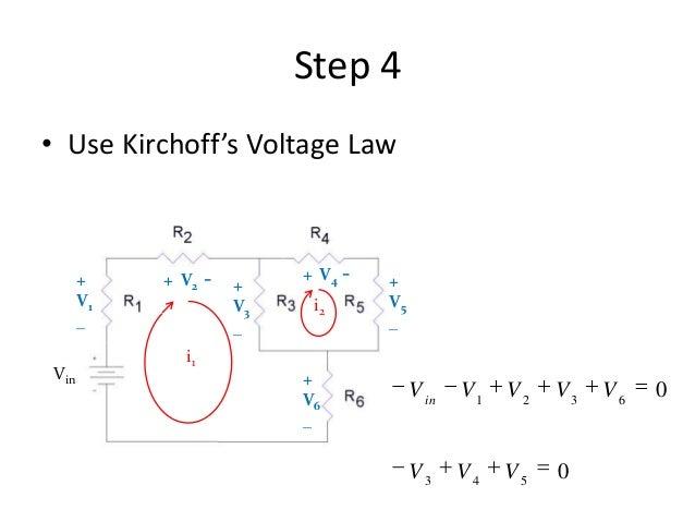 Step 4 • Use Kirchoff's Voltage Law i1 i2 + V1 _ Vin + V3 _ + V5 _ + V6 _ + V2 - + V4 - 0 0 543 6321 VVV VVVVVin