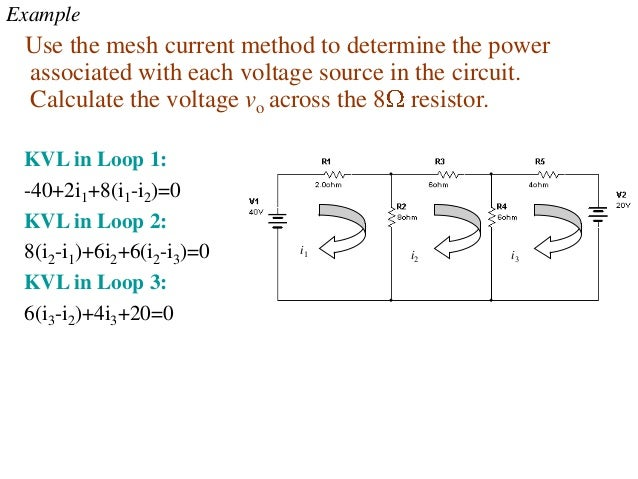 Example Use the mesh current method to determine the power associated with each voltage source in the circuit. Calculate t...