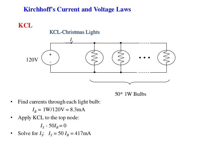 KCL + -120V 50* 1W Bulbs Is • Find currents through each light bulb: IB = 1W/120V = 8.3mA • Apply KCL to the top node: IS ...
