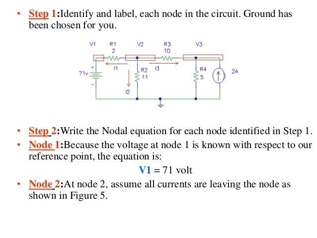 • Step 1:Identify and label, each node in the circuit. Ground has been chosen for you. • Step 2:Write the Nodal equation f...