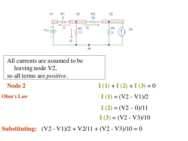 All currents are assumed to be leaving node V2, so all terms are positive. Node 2 I (1) + I (2) + I (3) = 0 Ohm's Law I (1...