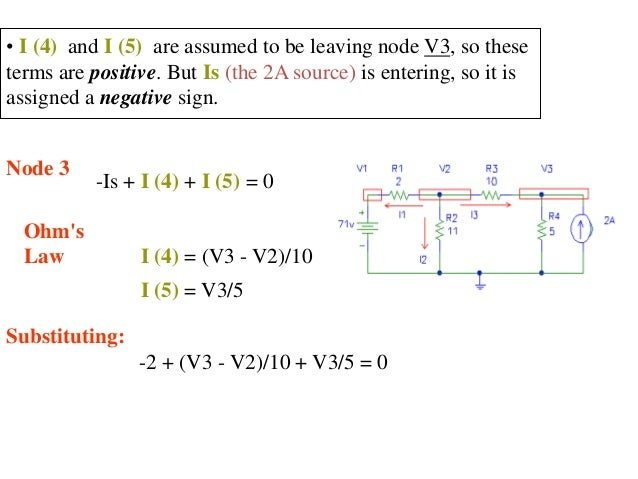 • I (4) and I (5) are assumed to be leaving node V3, so these terms are positive. But Is (the 2A source) is entering, so i...