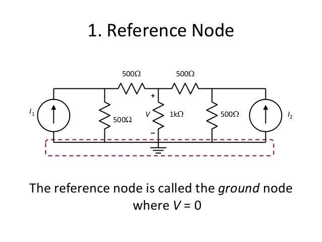 1. Reference Node The reference node is called the ground node where V = 0 + – V 500 500 1k 500 500 I1 I2