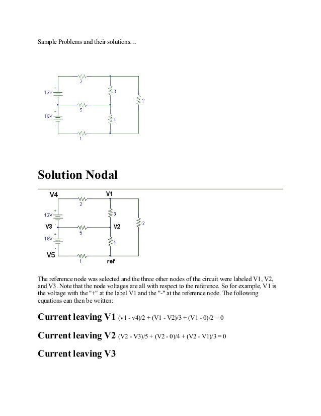 Sample Problems and their solutions… Solution Nodal The reference node was selected and the three other nodes of the circu...