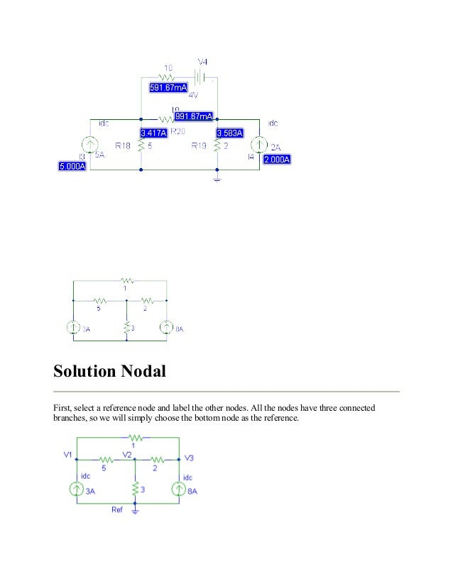 Solution Nodal First, select a reference node and label the other nodes. All the nodes have three connected branches, so w...