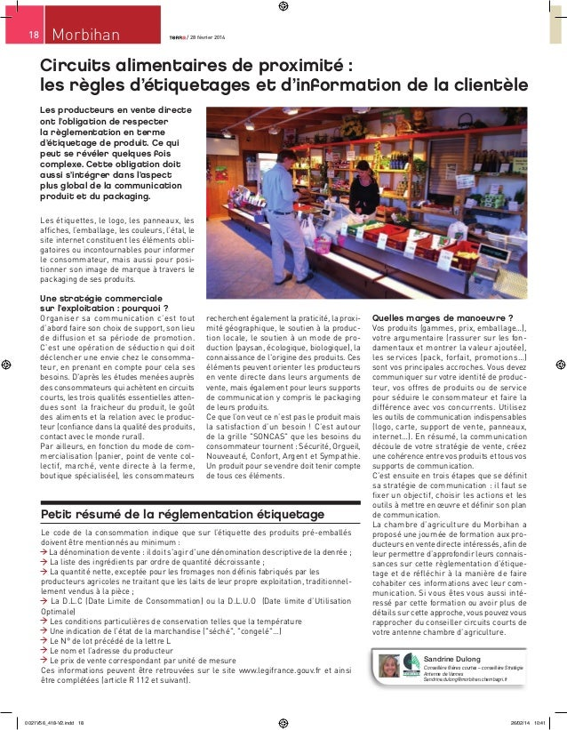 18  Morbihan  / 28 février 2014 / 28 février 2014  Circuits alimentaires de proximité : les règles d'étiquetages et d'info...