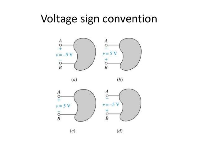 Voltage sign convention